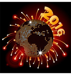 Disco ball world map 2016 and fireworks vector image vector image