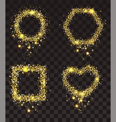 gold stars on transparent background set of frame vector image vector image