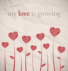 Growing hearts on crumpled paper vector image vector image