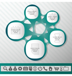 Infographic abstract element five sections grey vector image