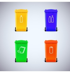 Recycle bins with the symbols vector image vector image