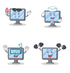 set of monitor character with ice cream sailor vector image