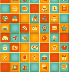 Square Pattern of Social Media in Retro Colors vector image