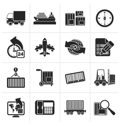 Black shipping and logistics icons vector image