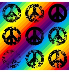 Grunge black signs of pacific on rainbow vector image