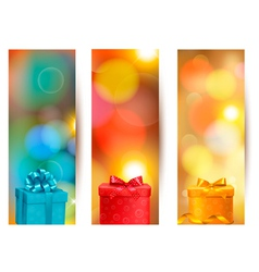 Set of beautiful gift cards with red gift bows vector