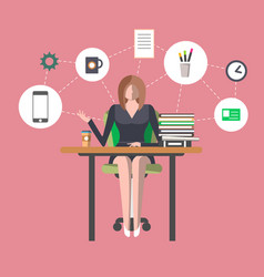 young woman in office workplace infographics vector image