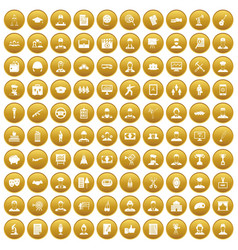 100 career icons set gold vector