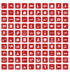 100 charity icons set grunge red vector