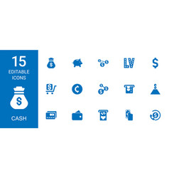 15 cash icons vector