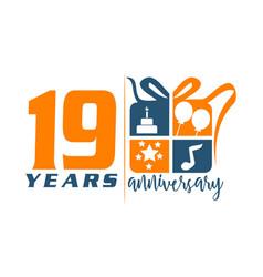 19 year gift box ribbon anniversary vector image