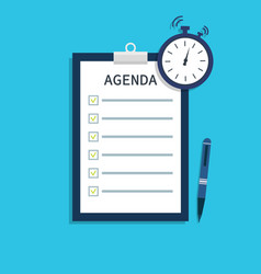 agenda for meeting list of event with remind flat vector image