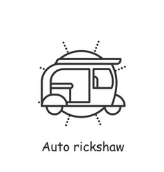 Auto rickshaw line icon vector