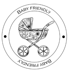 Baby friendly black-and-white sticker vector