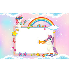 blank banner with cute unicorn in pastel sky vector image