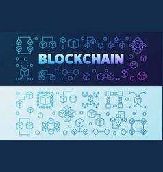 blockchain creative outline banners set vector image