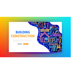Building construction neon landing page vector