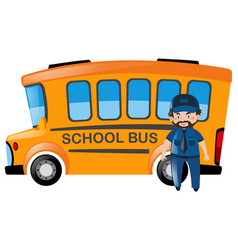 Bus driver standing in front of school bus vector