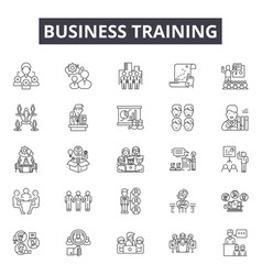 business training line icons signs set vector image