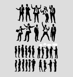 businessman and people talking silhouette vector image