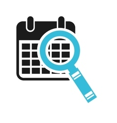 Calendar search magnifying glass icon vector