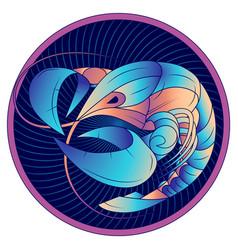 cancer zodiac sign horoscope symbol blue vector image