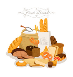 cartoon bread flour and pastries french baguette vector image