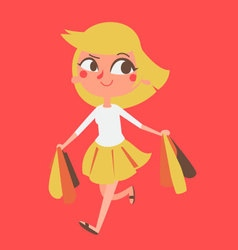 Cartoon Girl Shopping vector