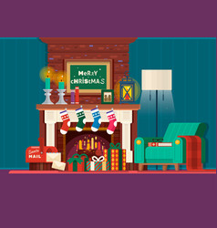 christmas fireplaceroom interior fireplace design vector image