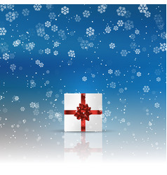 christmas gift on snowy background vector image