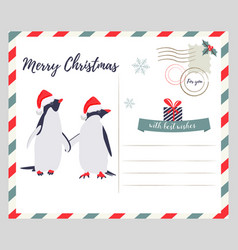 christmas new year greeting card with penguins vector image