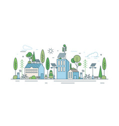 cityscape with modern eco friendly technology vector image