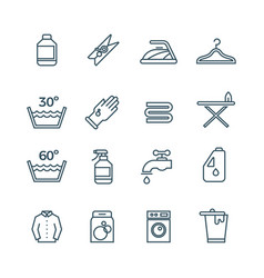 Clean laundry and dryer service line icons vector