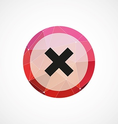close circle pink triangle background icon vector image