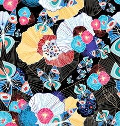 Colorful abstract pattern and butterflies vector