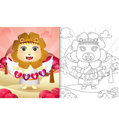 Coloring book for kids with a cute lion angel vector