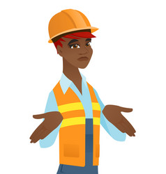 confused african builder shrugging shoulders vector image