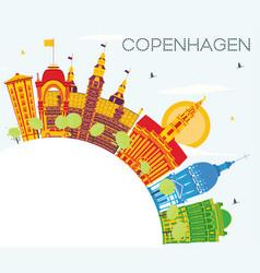 Copenhagen denmark city skyline with color vector