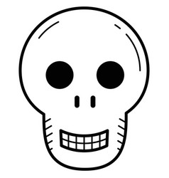 cute skull in linear style for halloween vector image