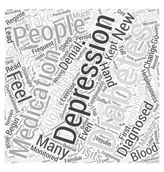 Depression and Diabetes Word Cloud Concept vector