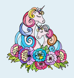 doodle unicorn mother and child vector image
