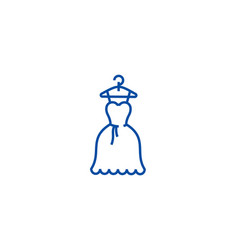 dress wedding ball gown line icon concept dress vector image