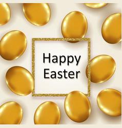 Easter eggs and golden glittering frame vector
