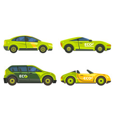 Eco cars electric vehicles icons green transport vector