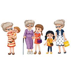 Family member cartoon character in several vector