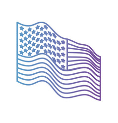 Flag united states of america waving side in color vector
