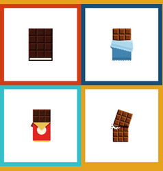 Flat icon cacao set of chocolate bar bitter vector
