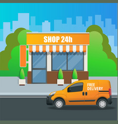 Flat modern fast food restaurant or shop buildings vector