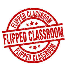 Flipped classroom round red grunge stamp vector