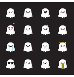 Ghost emoji set Funny halloween emoticons vector